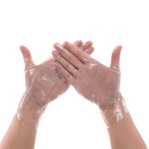 Food service clear embossed polyethylene plastic hand gloves