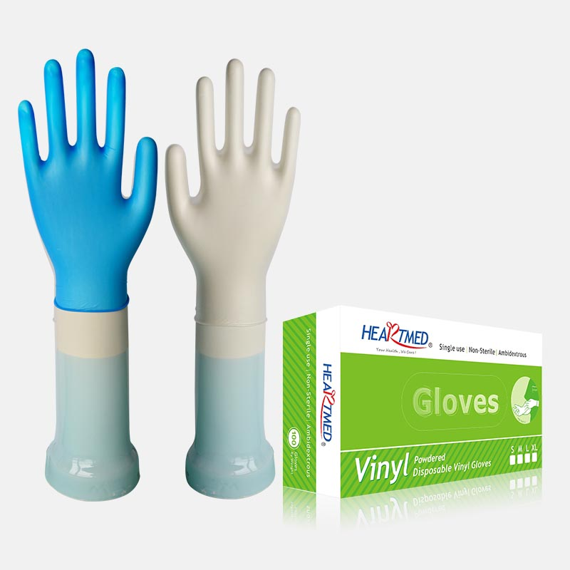 pk100 transparent blue pre-powdered vinyl synthetic disposable gloves