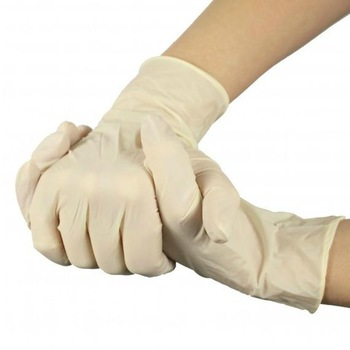 What is the problem of yellowing latex gloves?