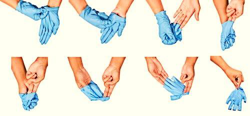 Put on and take off gloves correctly to avoid COVID-19