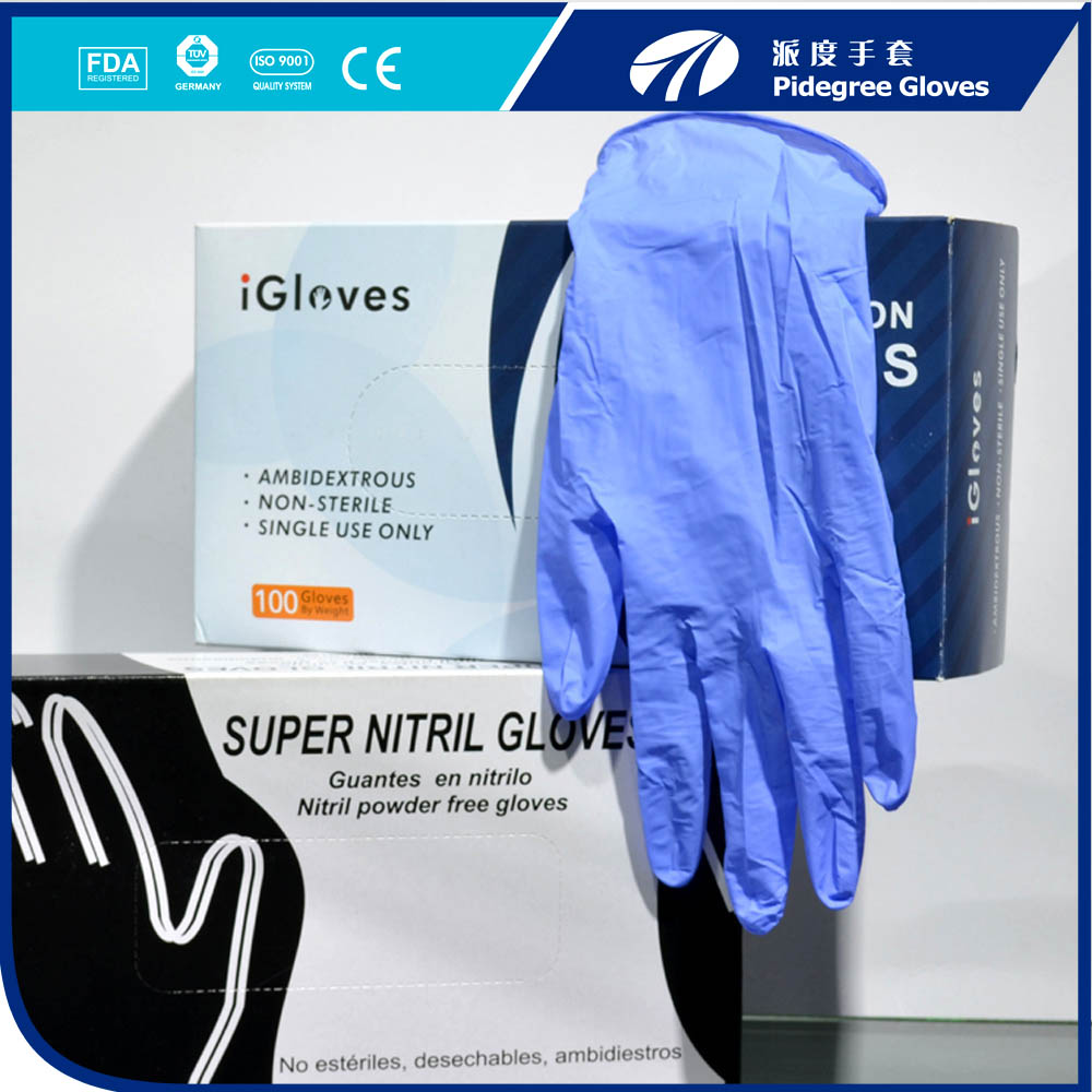 Disposable nitrile gloves used in several types of industries